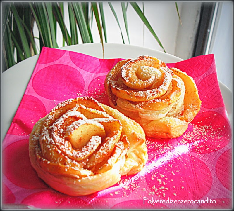 rose di sfoglia e mele caramellate