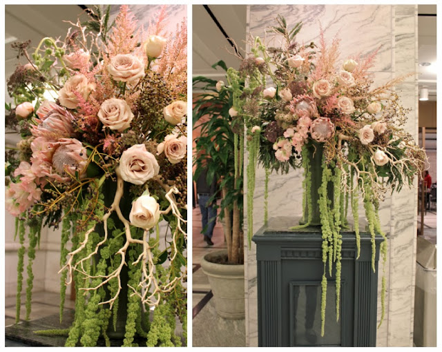 Sweet Pea floral design at the dia Detroit Institute of Arts large art museum floral arrangement with quicksand roses queen protea green hanging amaranths ann arbor detroit