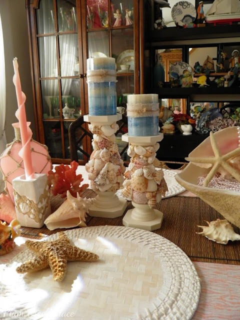 seashell candle sticks, DIY, tutorial