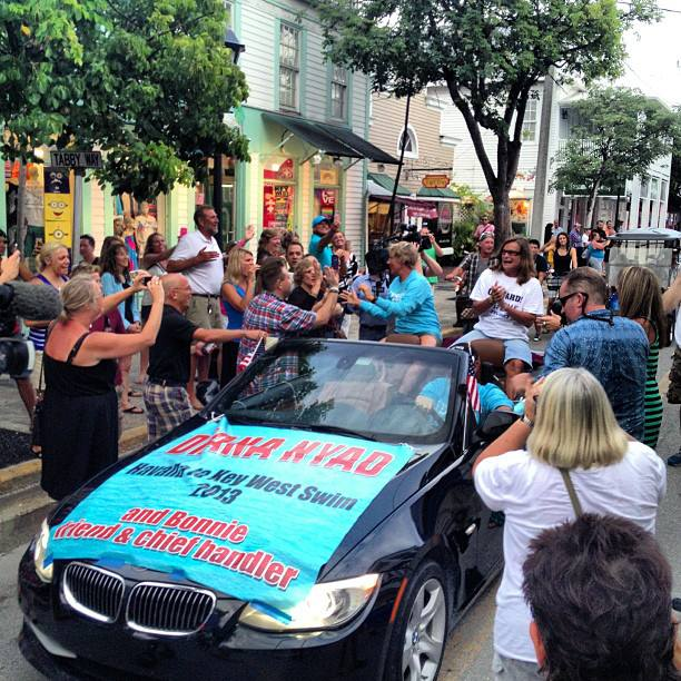 Diana and Bonnie greet fans in a Key West parade on Tuesday. Photo courtesy Diana Nyad.