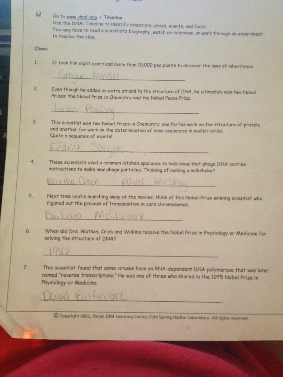 Leahs biology blog dna timeline scavenger hunt dna timeline scavenger hunt the pictures are above are of my scavenger hunt worksheet i went onto a website and did a lot of research from the past ibookread Read Online