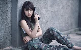 Cute Asian Girl Hwang Mi Hee with and Military Uniform Gun HD Wallpaper