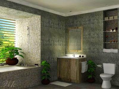 Kamar Mandi Minimalis Konsep Batu Alam