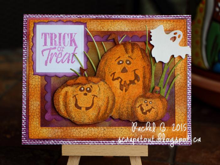 Handmade Halloween card, Impression Obsession, Pumpkins