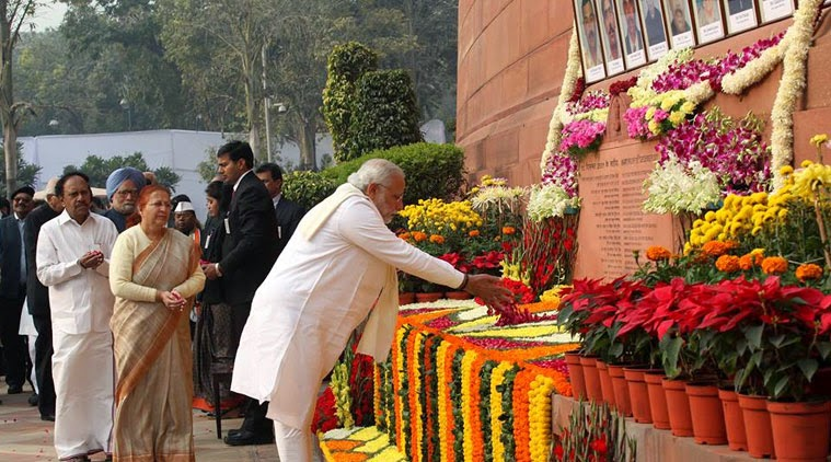 Indian Prime Minister Narendra Modi paying homage to the martyrs of the Parliament attack - 13th Dec 2014