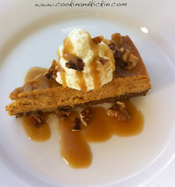 Pumpkin Cheesecake with Gingersnap Crust | Cookin' And Kickin'
