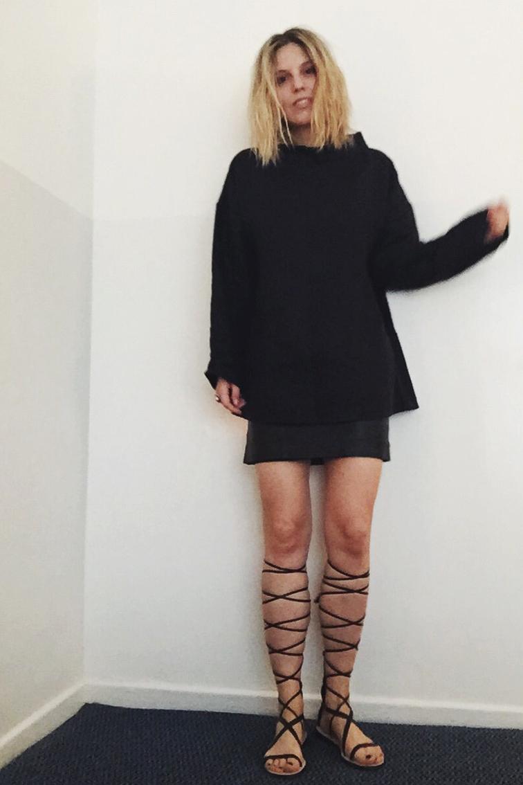 Fashion Over Reason, linen tunic, high Zara high top gladiators, leather vintage skirt