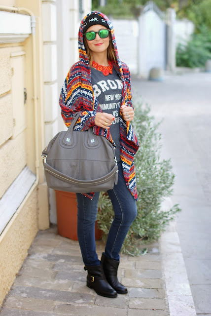 bad hair day beanie, Givenchy nightingale, aztec coatigan, Fashion and Cookies, fashion blogger