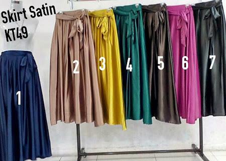 Lets Be Stylish Pelbagai Warna Skirt Satin Boleh Dipadankan Dengan Blouse Corak