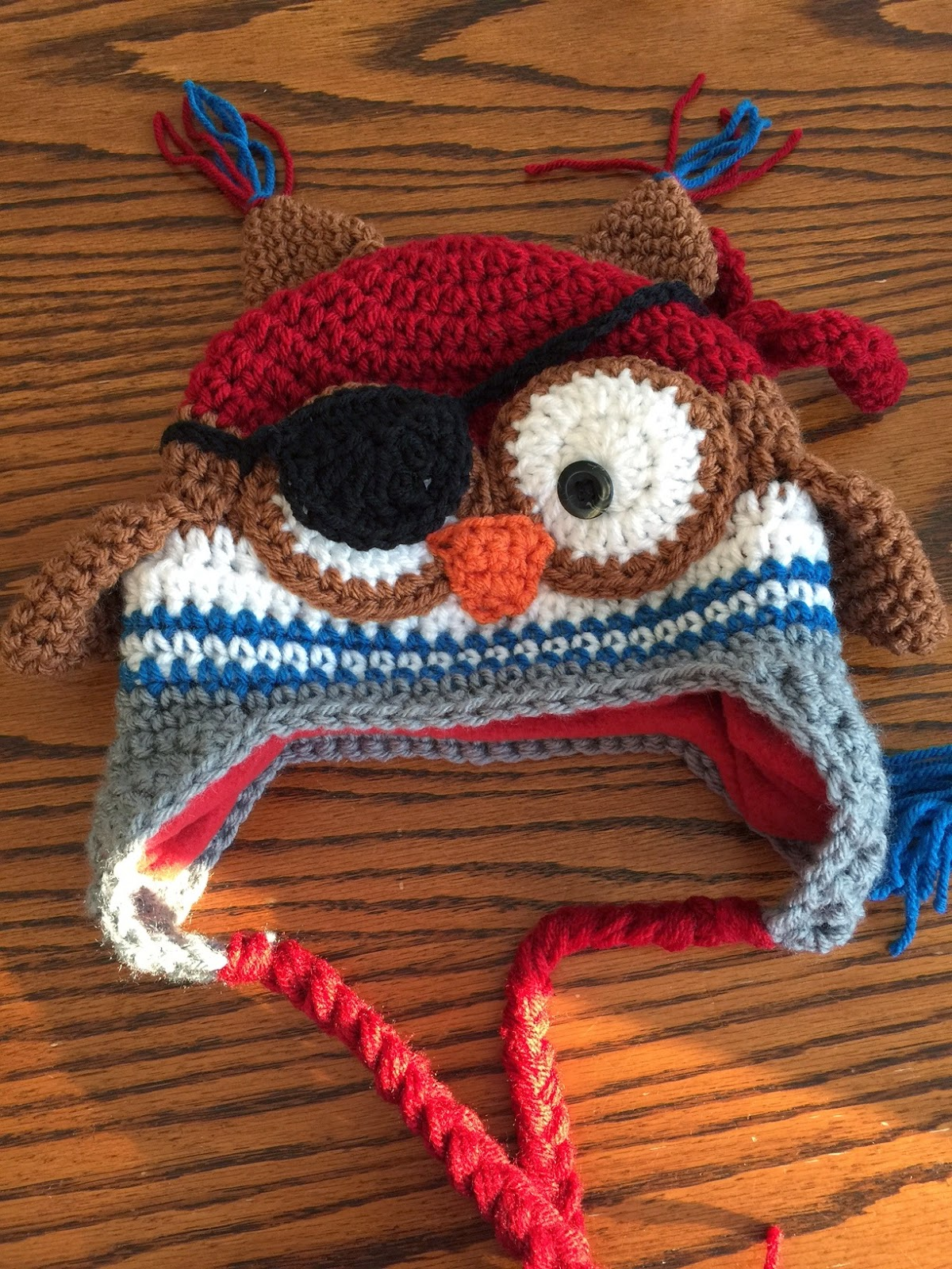 Lakeview cottage kids the newest item in my shop the crochet the crochet pirate owl earflap hat bankloansurffo Image collections