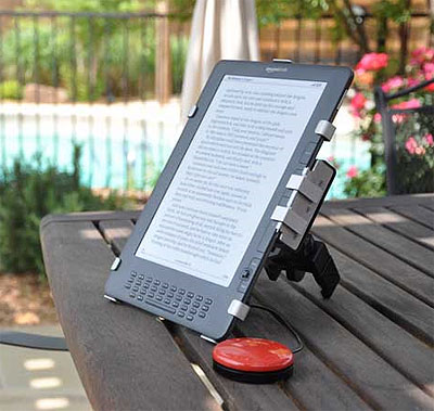 Photo of Origin Instruments' PageBot for Kindle. Switch accessible e-Book reader.