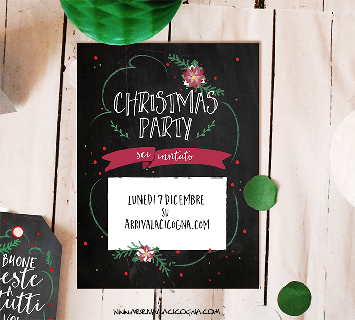 biglietto di invito a party di Natale
