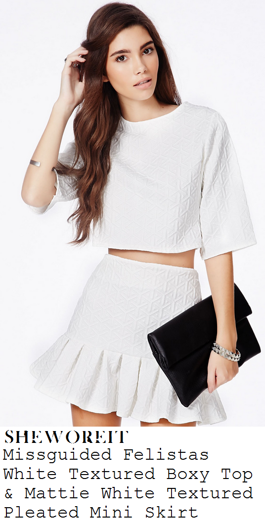 jessica-wright-white-geometric-textured-half-sleeve-crop-top-andmini-skirt-co-ords