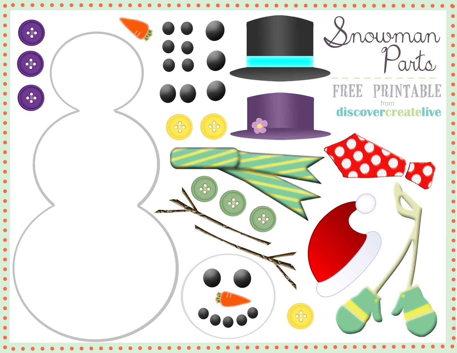 Magic image within snowman parts printable