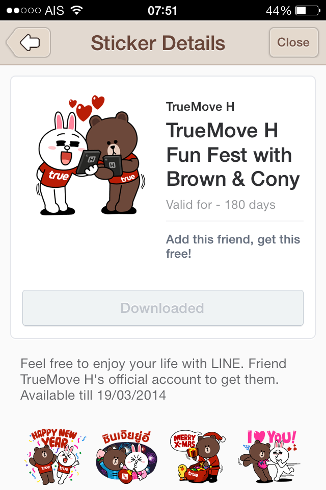 Brown and Cony line stickers
