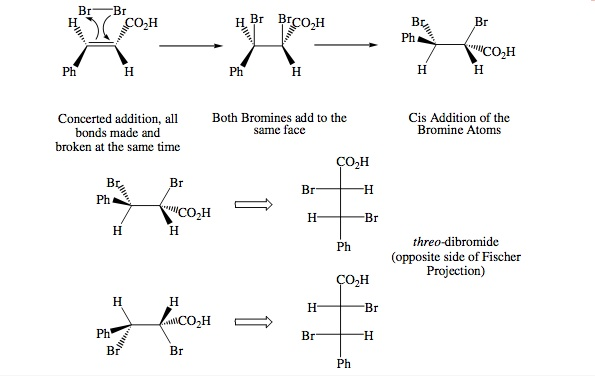 stereochemistry of bromine addition to trans cinnamic acid Bromination of ketones occurs smoothly with bromine in acetic acid the first step occurs in a cyclic way resulting in protonation of the carbonyl and formation of the enol occuring at the same time the next step is the attack of the enol on the bromine.