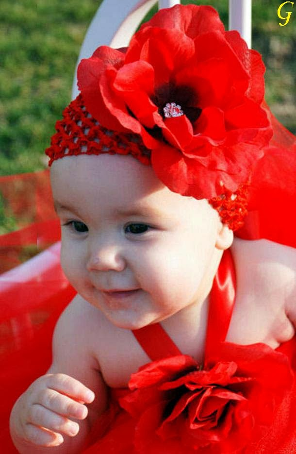 Cute Kids Pictures-Red Frock Baby Images