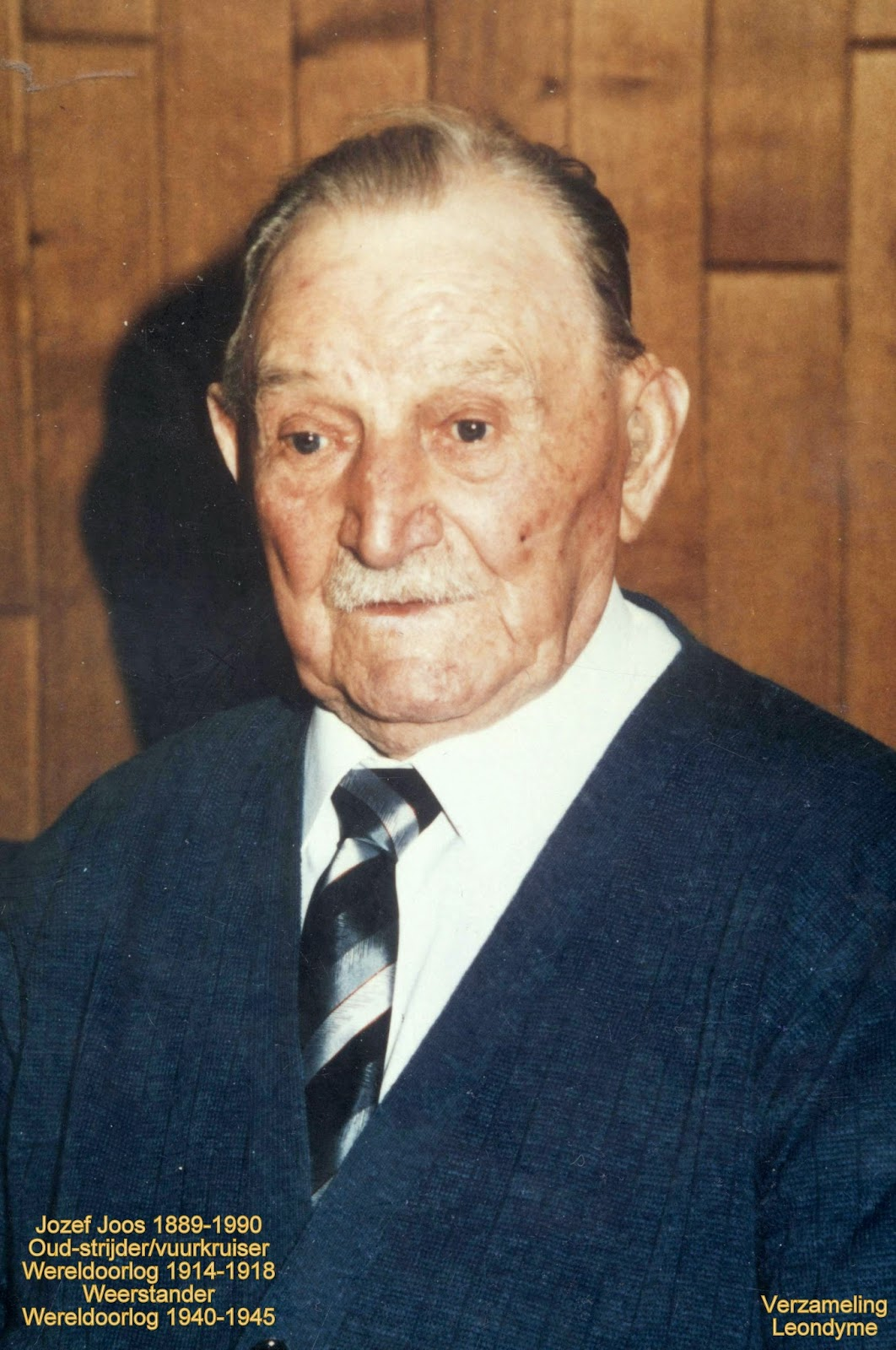 Voormalig oud-strijder en  vuurkruiser Jozef Joos uit  de Eerste Wereldoorlog en  verzetsstrijder uit de Tweede Wereldoorlog. Verzameling Leondyme.