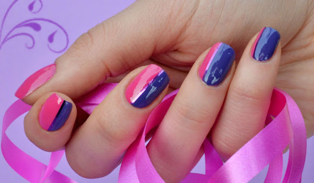 Blue and Pink Nail Art
