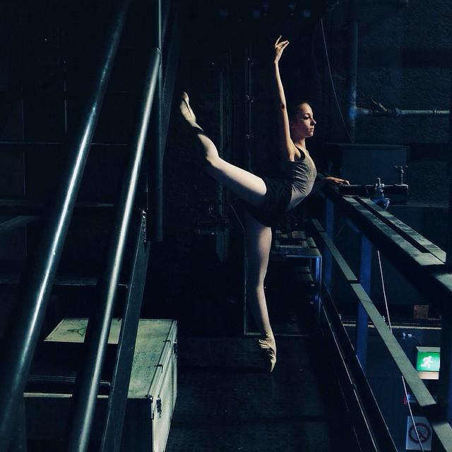 russian balleerina practicing backstage