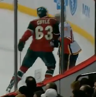 Charlie Coyle illegal hit to head of Matt Stajan Feb 26 2013