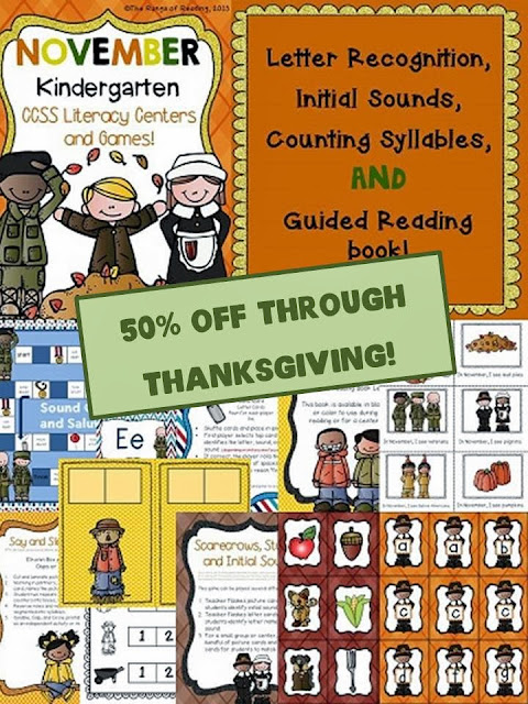 http://www.teacherspayteachers.com/Product/November-Kindergarten-Literacy-Centers-CCSS-Aligned-953895