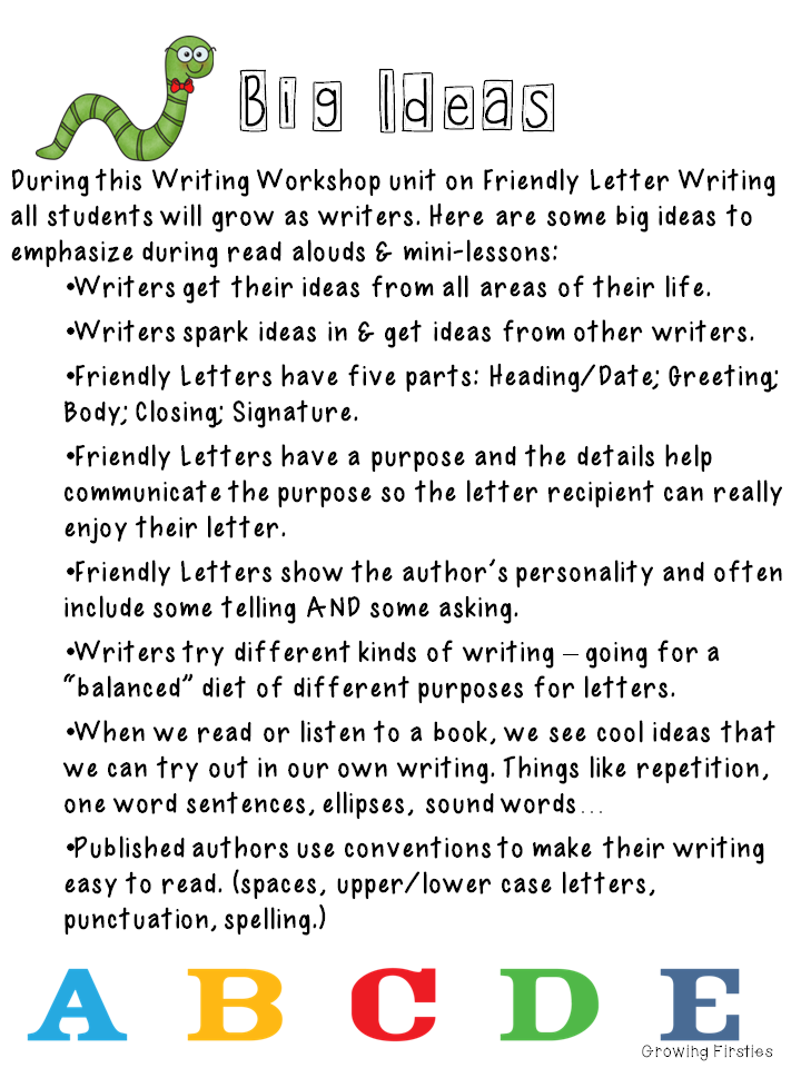 Growing Firsties: Friendly Letter Writing Pack