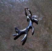 Hand ground aluminum Elk antler keychain