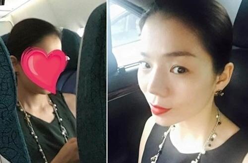 Hình ảnh Lệ Quyên trên Facebook của hành khách đi cùng. Hình ảnh và dòng trạng thái về nữ ca sĩ sau đó được xóa khỏi facebook người này.