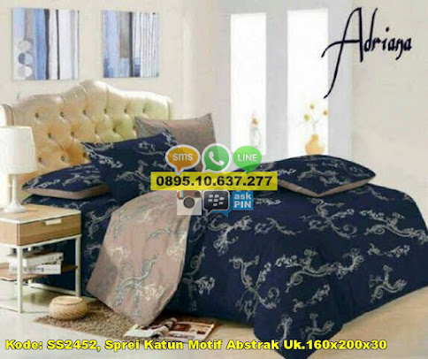 Sprei Katun Motif Abstrak Uk.160x200x30
