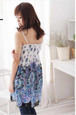 Baju Gaun Cantik warna Putih Biru