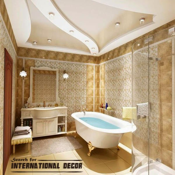 classic bathroom, luxury bathroom, false ceiling for bathroom