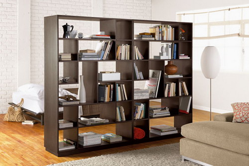 Creative bookcase room dividers idea to keep your rooms out of mess home design ideas - Bookshelves as room divider ...