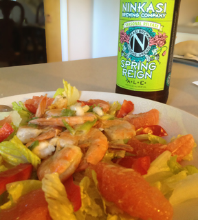 Jalapeno Shrimp with Grapefruit Salad with Ninkasi Spring Reign