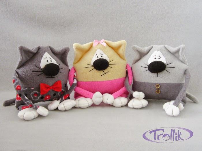 коты мягкие игрушки подушки из флиса