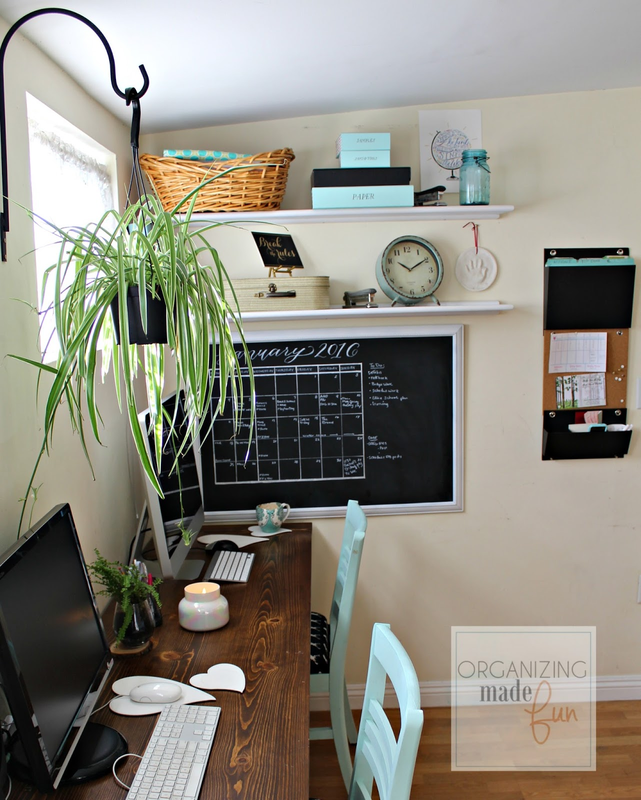organized home office. Adorable, Organized Home Office In A Small Rental | Organizing Made Fun: