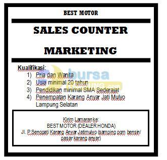 Lowongan Kerja Dealer Motor Lampung