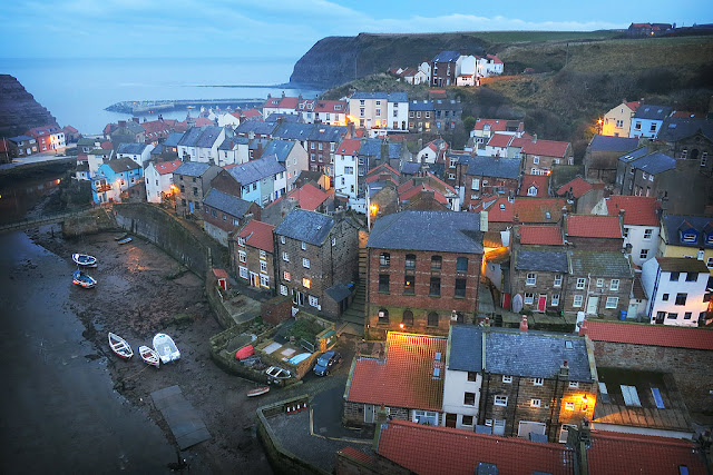 Staithes at dusk, a unique and quaint little fishing village on the North Yorkshire Coast