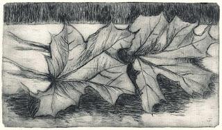 Roswitha Albrecht: Herbst II (Stillleben), Kaltnadelradierung, 2012