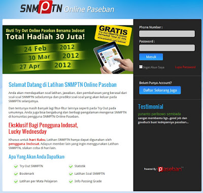 Try Out SNMPTN Online - Paseban