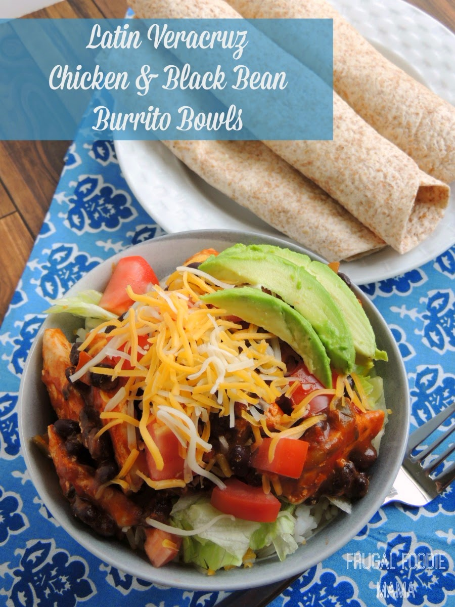 Latin Veracruz Chicken and Black Bean Burrito Bowls via thefrugalfoodiemama.com- faster than take-out, this tasty meal can be on your table in around 30 minutes! #PanWithAPlan #ImagineNation #ad
