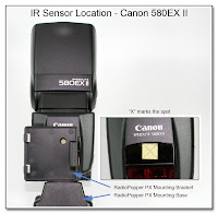 IR Sensor Location - Canon 580EX II (in place)