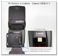 IR Sensor Location - Canon 580EX II (in place)