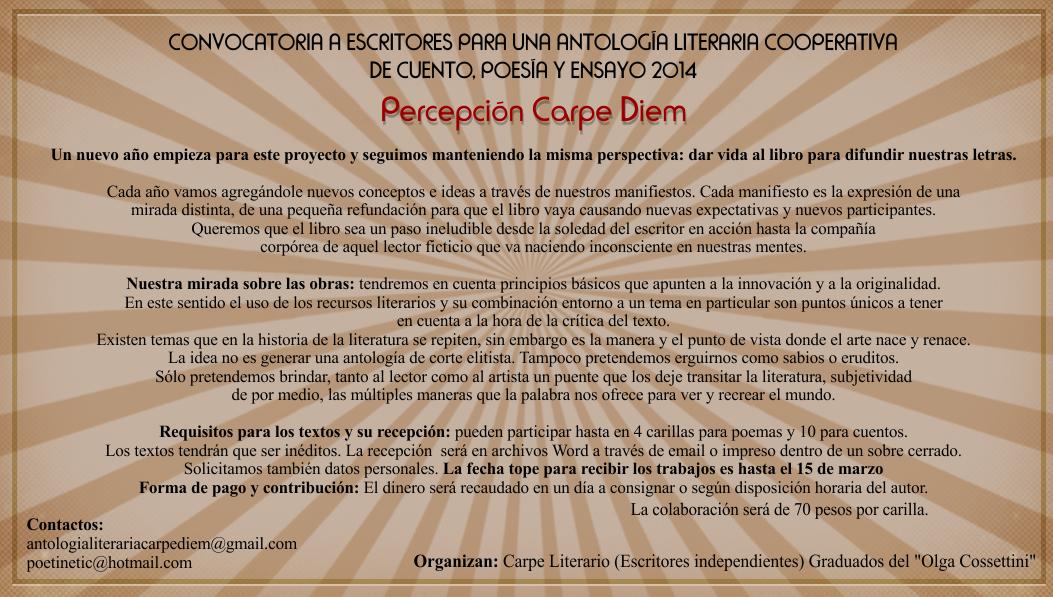 Convocatoria para antología literaria cooperativa 2014