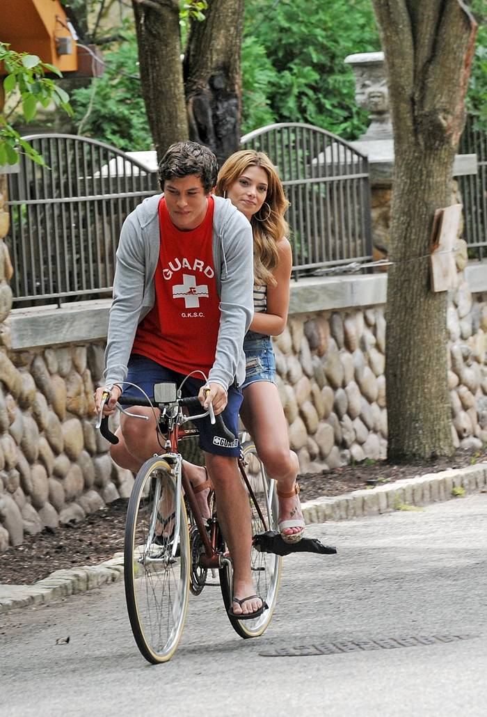 Ashley Greene Booty in Shorts on the Set of Staten Island Summer in NY