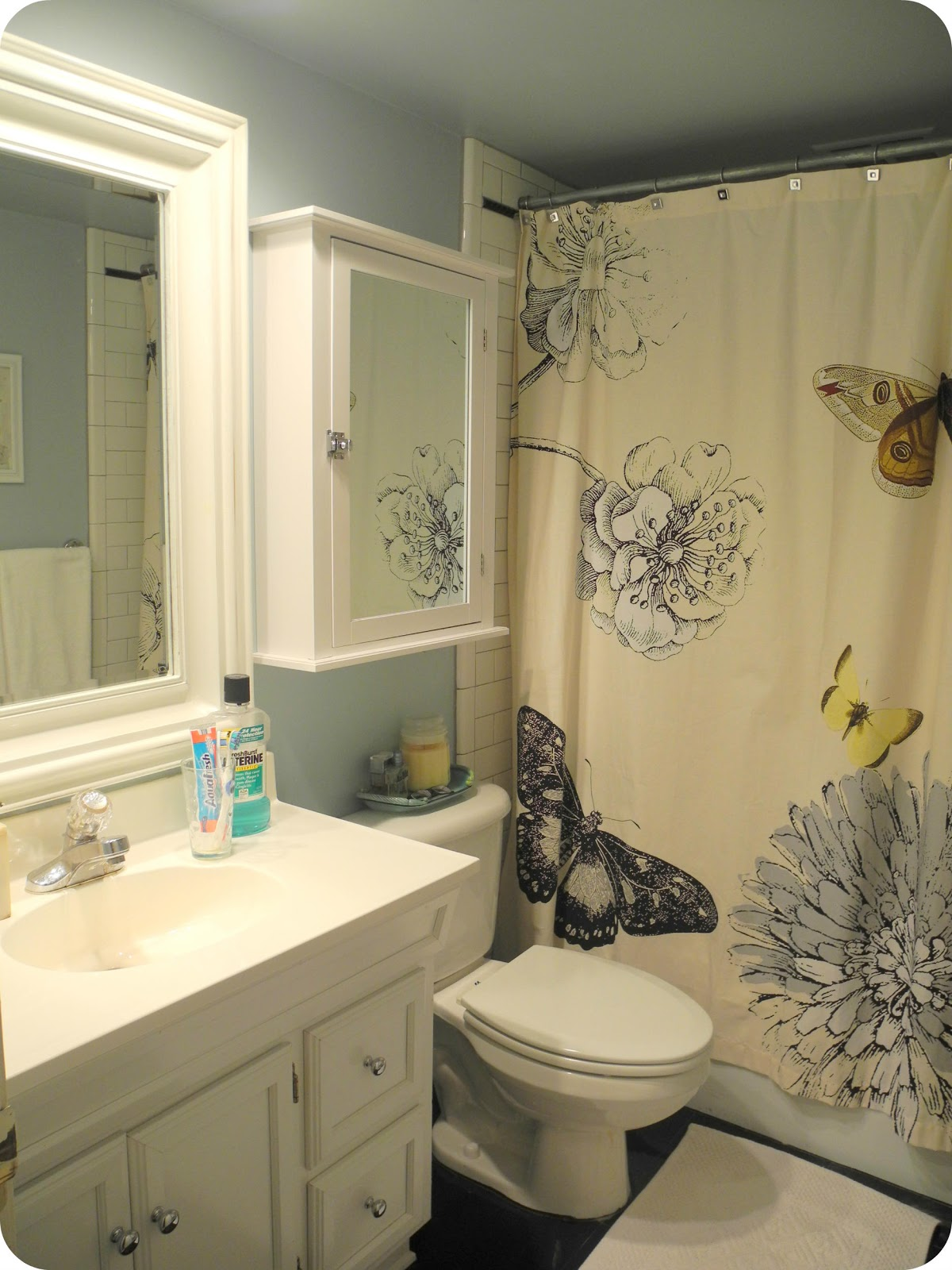 Awesome I Live Here Black White and Blue Bathroom with Butterflies And Gary Oldman