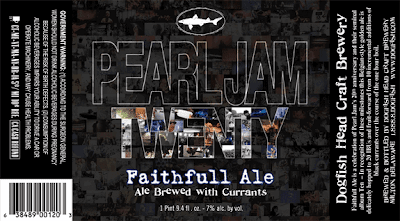 Pearl Jam Twenty Faithfull Ale Label by Dogfish Head Craft Brewery
