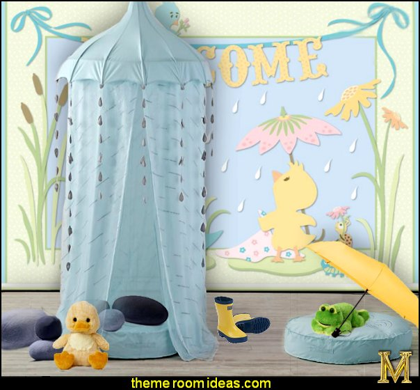 Theme Decorating Ideas Part - 49: Rainy Day Playhouse Canopy Rainy Day Playhouse Floor Cushion Rain Wall  Mural Pond Life