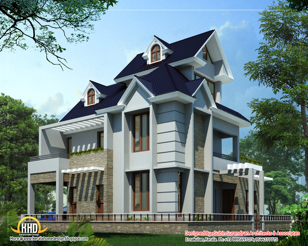 Unique home design 2012 sq ft kerala home design and Europe style house