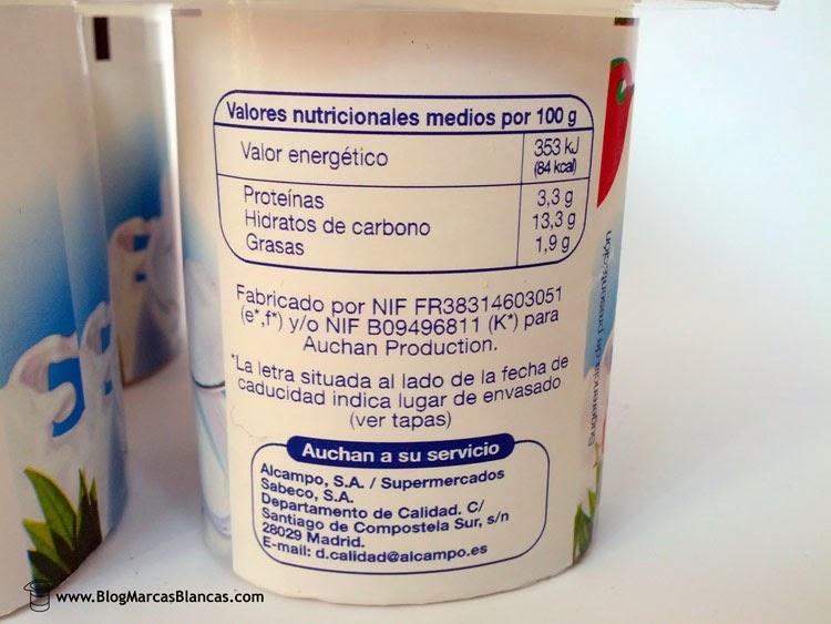 Valores nutricionales y fabricante del yogur natural azucarado AUCHAN (Alcampo)